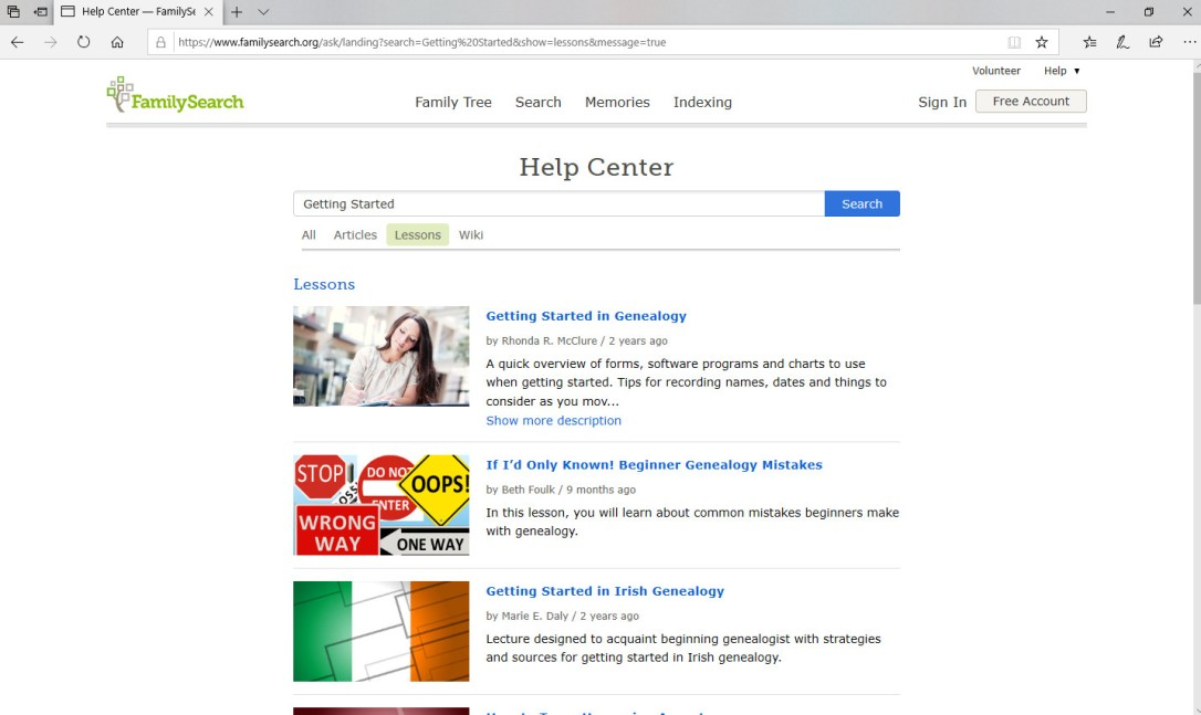 FamilySearch Help Center Screen Shot