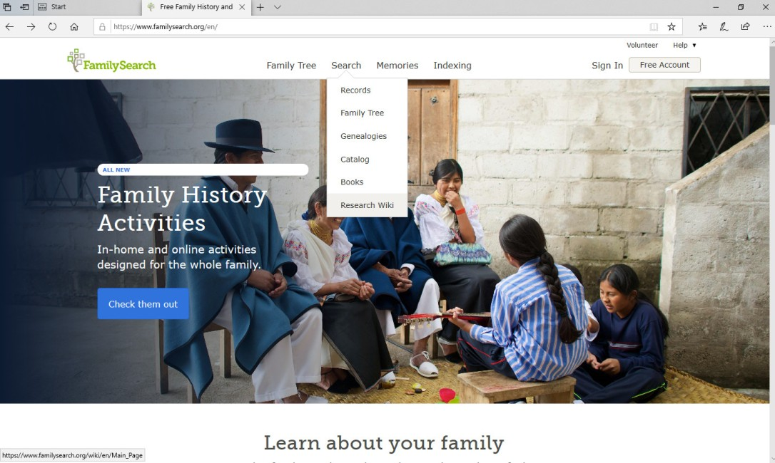 FamilySearch Screen Shot of Wiki