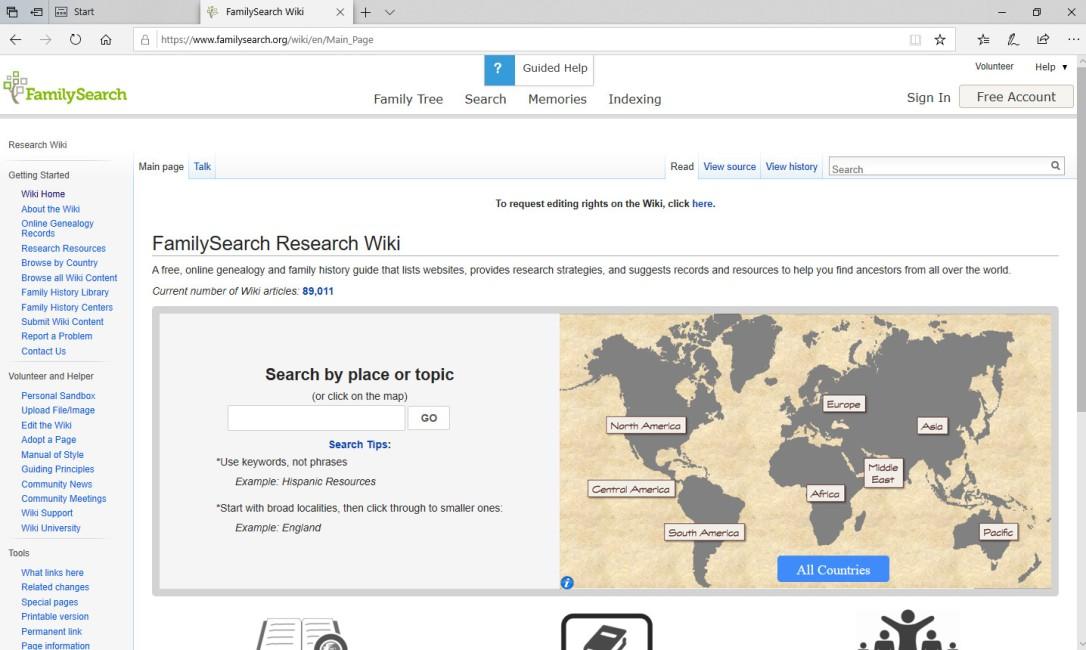 FamilySearch Wiki Screen Shot